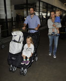 Actor Tobey Maguire with wife and kids at LAX Royalty Free Stock Photography