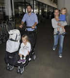 Actor Tobey Maguire with wife and kids at LAX Stock Photo