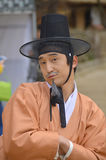 Actor in traditional korean reacting show Royalty Free Stock Image