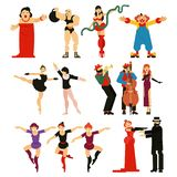 Actor vector performer or actress character playing musical entertainment performance in theater opera illustration set vector illustration