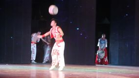 An actor who is performing an acrobatics in SHENZHEN.CHINA,ASIA stock video footage