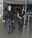 Actor Willem Dafoe with wife at LAX airport. Stock Image