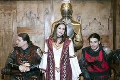 Actores por épocas medievales en la estafa cómica de NY Foto de archivo