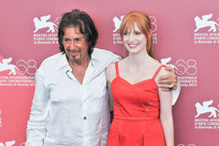 Actors Al Pacino and Jessica Chastain. VENICE - SEPTEMBER 4: Actors Al Pacino and Jessica Chastain poses at photocall during the 68th Venice Film Festival at Stock Images