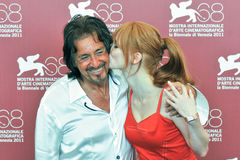 Actors Al Pacino and Jessica Chastain. VENICE - SEPTEMBER 4: Actors Al Pacino and Jessica Chastain poses at photocall during the 68th Venice Film Festival at Stock Photos