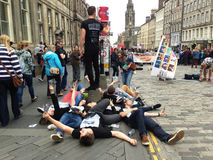 Actors and artists on the street at the Edinburgh Fringe Festival held every August Stock Photography