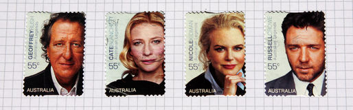 Actors australia. Australian stamps which celebrate four famous actors born in Autralia and famous around the world: Blanchett Cate, Crowe Russell, Nicole Kidman Stock Photography