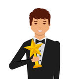 Actors awards design. Actor holding a star trophy cartoon icon over white background. actors awards concept. colorful design. vector illustration Royalty Free Stock Photo