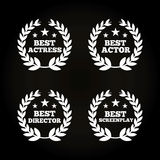 Actors awards design. Wreaths of leaves of actors awards concept over black background. colorful design. vector illustration Stock Photo