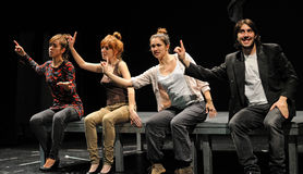 Actors of the Barcelona Theater Institute, play in the comedy Shakespeare For Executives stock photo