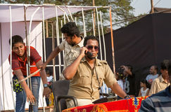 Actors depict corrupt policemen and the iniquity during parade of the traditional Goa carnival Royalty Free Stock Photo