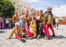 Actors dressed in medieval costumes. During a play at the beginning of the Burghausen Burgfest Festival Royalty Free Stock Images