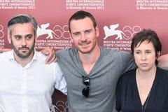 Actors Emile Sherman, Michael Fassbender and Abi Morgan Stock Image