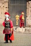 Actors gladiators dressed in Roman costumes Stock Photos
