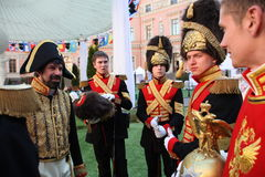 Actors historical animation of the mikhailovsky ( engineering ) castle Stock Photo