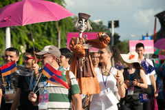 Actors holding puppets in Harmony World Puppet Carnival in Bangkok. Royalty Free Stock Photography