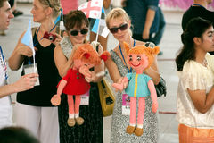 Actors holding puppets in Harmony World Puppet Carnival in Bangkok. Stock Photo