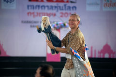 Actors holding puppets in Harmony World Puppet Carnival in Bangkok. Stock Photos