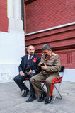 Actors in the images of Lenin and Stalin near the Kremlin Royalty Free Stock Image