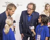 Actors Johnny Flynn and Geoffrey Rush. Oscar winner, Australian actor Geoffrey Rush arrives for the premiere of `Genius` at the 2017 Tribeca Film Festival on Stock Photos