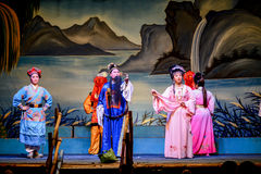 Actors performing traditional Chinese opera on the ghost festival stock image