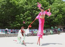 Actors performs Stilts ,China Royalty Free Stock Photography