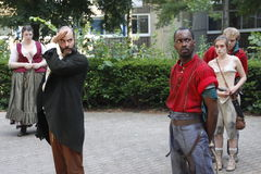 Actors playing Shakespeare. Actors from Island Shakespeare theater company playing Much Ado About Nothing by William Shakespeare at Roosevelt Island Amphitheatre Stock Photos