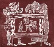 Actors and puppets. Woodcut. Handmade engraving on wood artist print Stock Image