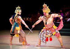 Actors of Ramayana ballet performs at Prambanan temple  in Yogya Royalty Free Stock Images