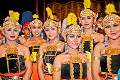Actors of Ramayana ballet performs at Purawisata Jogja in Yogya. Actors of Ramayana ballet after the show at Prambanan temple in Yogyakarta, Indonesia. It is Royalty Free Stock Images