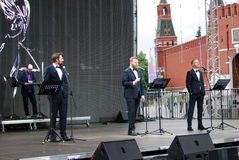 Actors read poem Eugene Onegin on stage on the Red Square in Moscow Royalty Free Stock Images