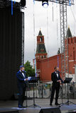 Actors read poem Eugene Onegin on stage on the Red Square in Moscow Royalty Free Stock Photos
