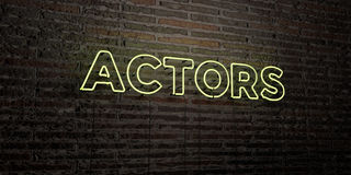 ACTORS -Realistic Neon Sign on Brick Wall background - 3D rendered royalty free stock image Stock Photography