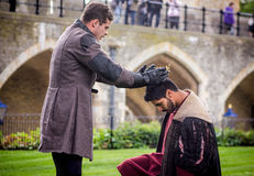 Actors in Shakespeare Open Air Theater. Crowning King Stock Photos