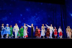 Actors on the stage of Wroclaw Opera House. Wroclaw, Poland - January 04 2018: Actors are coming to applause at the end of the ballet Nutcracker at the stage of Royalty Free Stock Photo