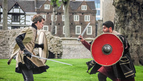 Actors Sword Fight. Open Air Theatre Shakespeare Play Royalty Free Stock Image
