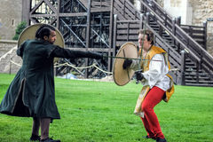 Actors Sword Fight. Shakespeare Open Air Theater Royalty Free Stock Photos