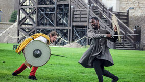 Actors Sword Fight. Shakespeare Open Air Theater Stock Photo