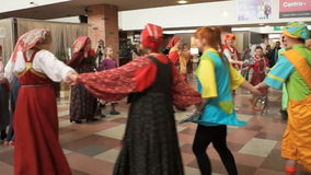 Actors Theatre of young spectator and workers Tver State United Museum at the parade of culture stock video footage