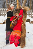 Actors on a traditional slavic winter holiday. Royalty Free Stock Photos