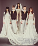 Actors in the wedding dress look depressively Royalty Free Stock Photography