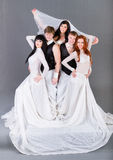 Actors in the wedding dress posing. Stock Photography