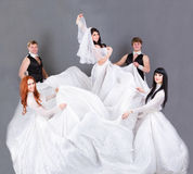 Actors in the wedding dress posing. Royalty Free Stock Image
