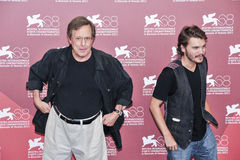 Actors William Friedkin and Emile Hirsch. VENICE - SEPTEMBER 8: Actors William Friedkin and Emile Hirsch poses at photocall during the 68th Venice Film Festival Royalty Free Stock Photos