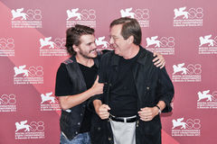 Actors William Friedkin and Emile Hirsch. VENICE - SEPTEMBER 8: Actors William Friedkin and Emile Hirsch poses at photocall during the 68th Venice Film Festival Royalty Free Stock Images