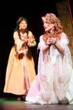 Actress Anastasia Makeeva with dagger in musical Royalty Free Stock Photos