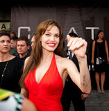 Actress Angelina Jolie. MOSCOW - JULY 25: Actress Angelina Jolie at the premiere of the movie Salt at the October Cinema. July 25, 2010 in Moscow, Russia Royalty Free Stock Photos
