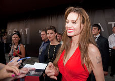 Actress Angelina Jolie. MOSCOW - JULY 25: Actress Angelina Jolie at the premiere of the movie Salt at the October Cinema. July 25, 2010 in Moscow, Russia Stock Photos