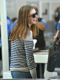 Actress Anne Hathaway is seen at LAX airport Royalty Free Stock Photos