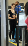 Actress Ashley Greene with dog at LAX airport Stock Image